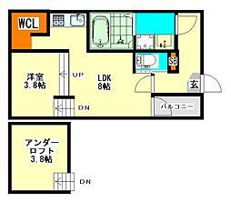 愛知県名古屋市西区押切1丁目の賃貸アパートの間取り