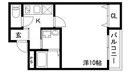 フジパレス神戸大倉山 3階1Kの間取り