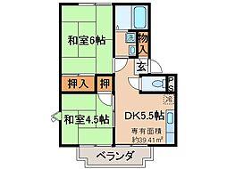 京都府京都市山科区大塚西浦町の賃貸アパートの間取り