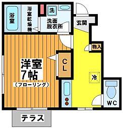東京都渋谷区幡ヶ谷1丁目の賃貸アパートの間取り