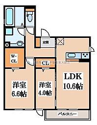 D-room六万寺町[3階]の間取り