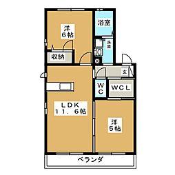 ウェルコート B 2階2LDKの間取り