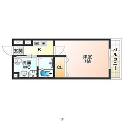 JR関西本線 東部市場前駅 徒歩8分の賃貸マンション 7階1Kの間取り
