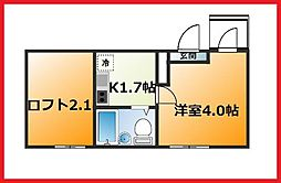 東京都墨田区石原3丁目の賃貸アパートの間取り