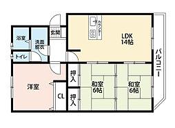 第2瓜生ビル[2階]の間取り