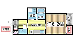 兵庫県神戸市長田区御屋敷通6丁目の賃貸マンションの間取り