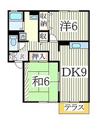 ロイヤルガーデン・サウスB[1階]の間取り