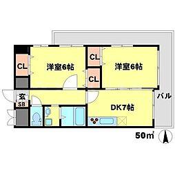 イーズコート桃山台[2階]の間取り