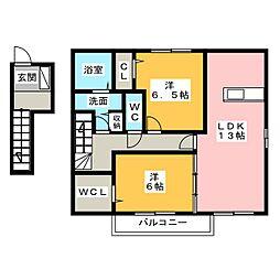 セジュール上脇 B棟[1階]の間取り