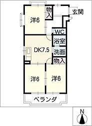 第一三栄マンション[3階]の間取り