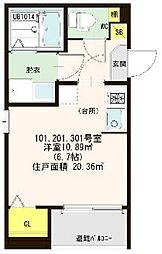 仮称)ハ−モニ−テラス大阪市西淀川区歌島一丁目8A[201号室]の間取り