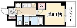 エステムコート名古屋新栄IIIグローリィ 6階1Kの間取り
