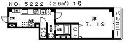 ルミエール駒川[7階]の間取り