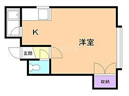 コート澄川B 1階ワンルームの間取り