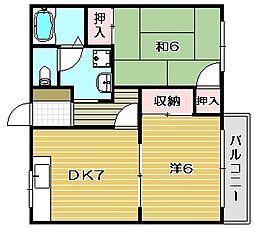 大阪府茨木市目垣2丁目の賃貸アパートの間取り