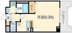 プレジェーネ北江口 3階1Kの間取り