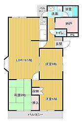静岡県浜松市中区広沢1丁目の賃貸アパートの間取り