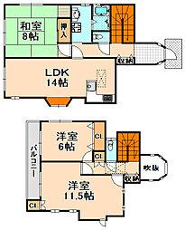 [一戸建] 兵庫県伊丹市野間6丁目 の賃貸【/】の間取り