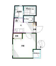 モン・シャトー高円寺南新館 1階1Kの間取り