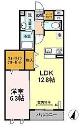 神奈川県川崎市幸区小倉3丁目の賃貸アパートの間取り