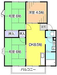 東京都東大和市新堀2丁目の賃貸アパートの間取り