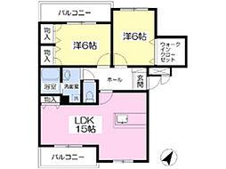 福岡県北九州市小倉南区蒲生2丁目の賃貸マンションの間取り