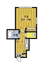 東京都世田谷区等々力8丁目の賃貸アパートの間取り
