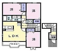 広島県福山市神辺町大字新道上の賃貸アパートの間取り