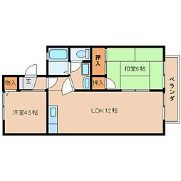 JR桜井線 長柄駅 徒歩15分の賃貸アパート 2階2LDKの間取り