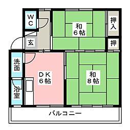 林アパートI[1階]の間取り