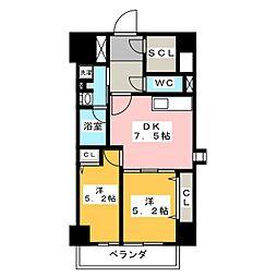 パークアクシス新栄 12階2DKの間取り