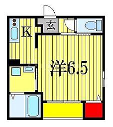 スタンザフェリス 3階1Kの間取り