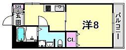 ルプリーズ西宮北口[2階]の間取り
