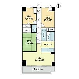スカール喜多川A棟[2階]の間取り