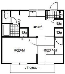 リベルテ水戸島[1階]の間取り