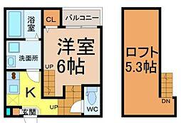 愛知県名古屋市南区桜台2丁目の賃貸アパートの間取り
