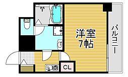 阪神本線 福島駅 徒歩4分の賃貸マンション 4階1Kの間取り