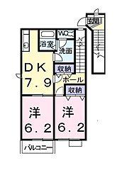 茨城県龍ケ崎市長山6丁目の賃貸アパートの間取り