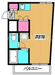 JR中央線 武蔵小金井駅 徒歩10分の賃貸マンション 1階ワンルームの間取り