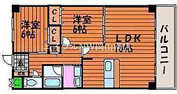 JR宇野線 大元駅 徒歩10分の賃貸マンション 2階2LDKの間取り