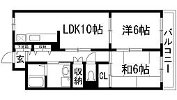 兵庫県伊丹市池尻2丁目の賃貸マンションの間取り