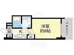阪神なんば線 桜川駅 徒歩1分の賃貸マンション 13階1Kの間取り