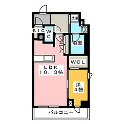 プラウドフラット菊川 7階1LDKの間取り