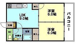 広島県広島市西区大宮2丁目の賃貸マンションの間取り