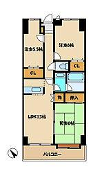 第3エスケービル[8階]の間取り