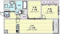 Adi 1 3階2LDKの間取り