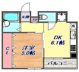 フェニックスコート甲南[4階]の間取り