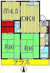 コーポKIKU B棟[1階]の間取り
