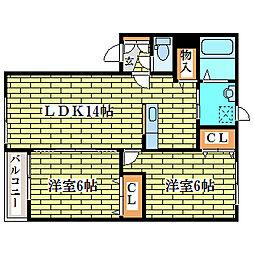 セジュール喜寿A[1階]の間取り