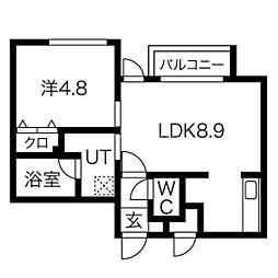 札幌市営南北線 北18条駅 徒歩9分の賃貸マンション 2階1LDKの間取り